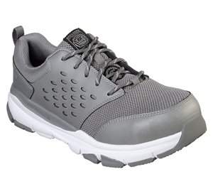 White Gray Skechers Work: Soven Alloy Toe