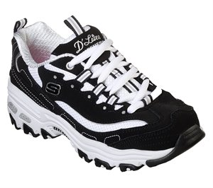 White Black Skechers D'Lites - Biggest Fan