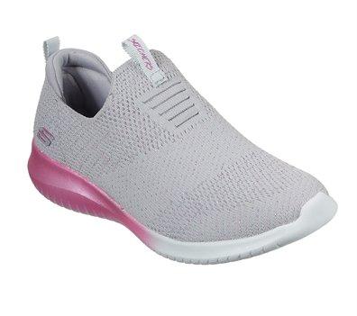 Pink Gray Skechers Ultra Flex - Metamorphic