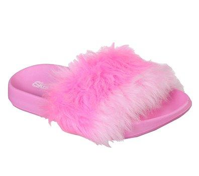 Pink Skechers Fur Sunny Slides