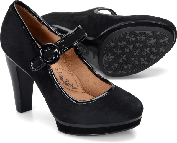 1950s Style Shoes | Heels, Flats, Saddle Shoes Sofft Monique  Black Suede - Womens $119.95 AT vintagedancer.com
