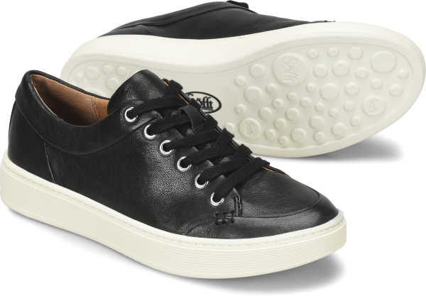 Sleek lines and a clean look give this sneaker a cool modern edge.   Offered in full-grain leather or distressed metallic suede  Microfiber lining  Leather lined footbed cushioned for extra comfort with arch support  Padded heel collar  Lightweight PU outsole  Heel height: Flat