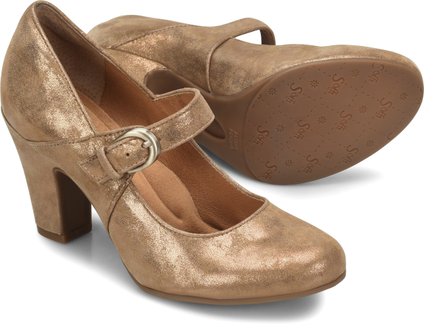 Art Deco Shoes Styles of the 1920s and 1930s Sofft Miranda  Rich-Gold-Suede - Womens $99.95 AT vintagedancer.com