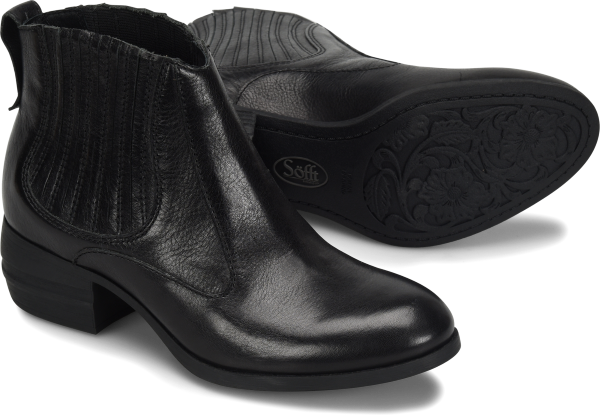 A beautifully hand-burnished Italian leather boot crafted with gorgeous details.   Offered in full-grain Italian leather  Hidden stretch goring for flexibility  Heel tab  Microfiber lining  Leather lined footbed, cushioned for comfort  Stacked heel  Lightweight TPR outsole  Heel Height: 1 1/2 inches