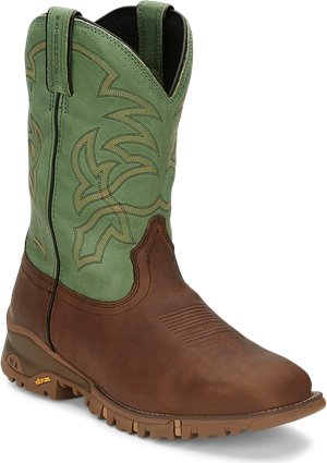 Brown Green Tony Lama Boots Roustabout Green Waterproof