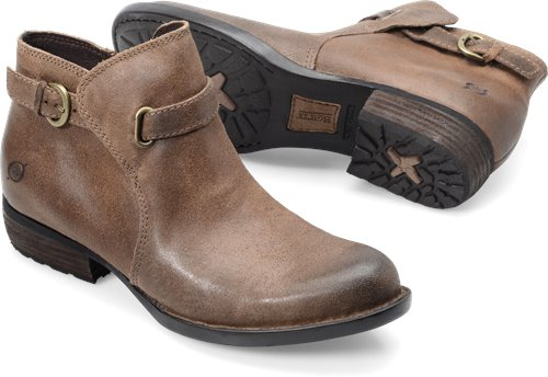 Born Womens Ankle Boots Taupe Oiled Suede