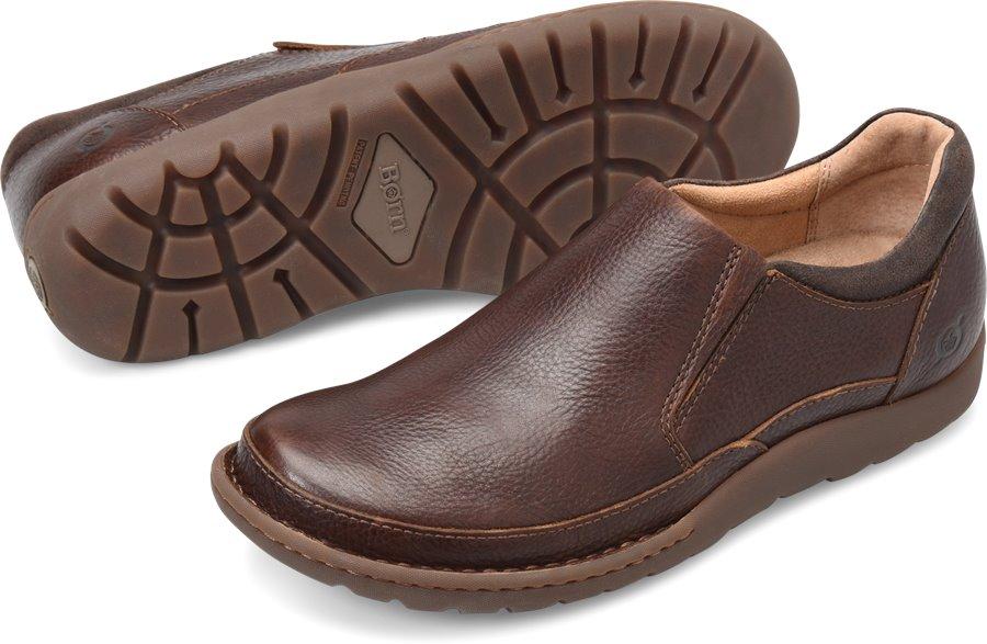 Born Men's Shoes - Nigel Slip On in Brown Dark Brown