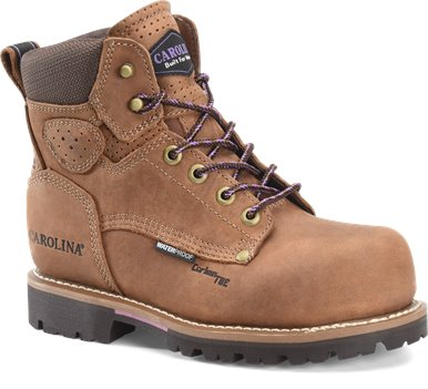 Chestnut Brown Carolina Womens 6 Inch Waterproof Carbon Comp Toe Work Boot