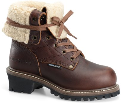 """Brown Carolina 9"""" Faux Shearling Lined Fold-Over"""