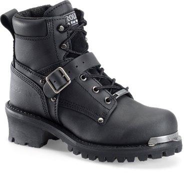 "Black Carolina 6"" Ankle Strap Side Zipper Logger"