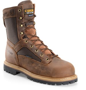 "Medium Brown Carolina 8"" WP 400G Lace to Toe Work Boot"