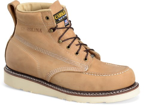 Dark Brown Carolina 6 Inch Domestic Moc Toe Wedge Work Boot