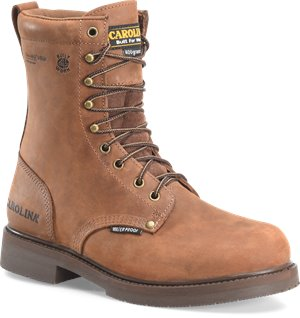 Copper Crazy Horse  Carolina 8 In Waterproof Insulated Work Boot