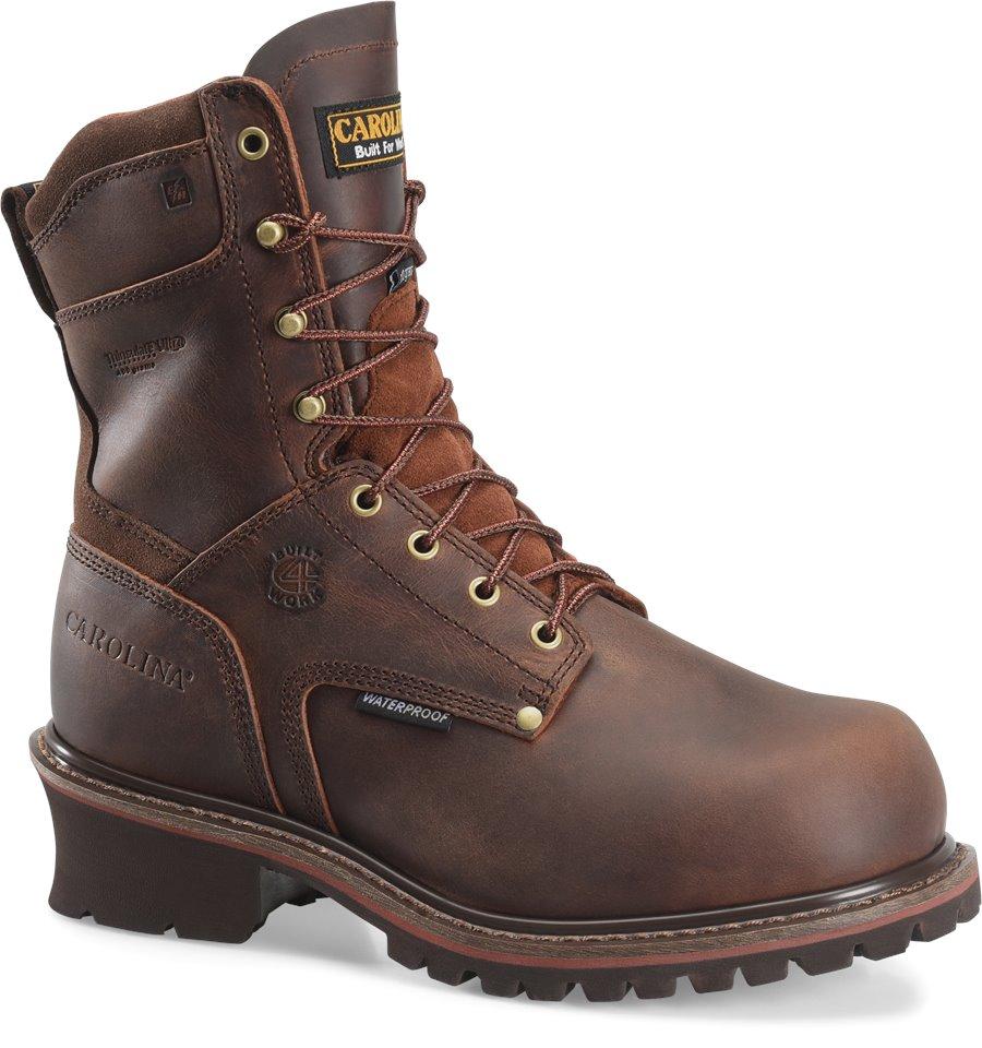 Carolina 9 Inch Broad Toe Insulated WP Logger : Dark Red Brown - Mens