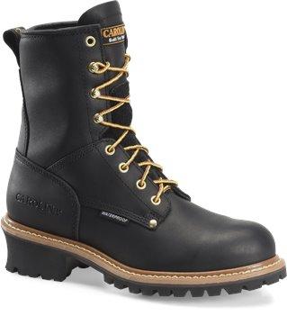 """Black Carolina 8"""" Plain Non Steel Toe Logger"""