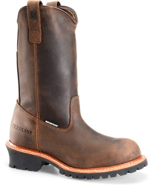 Tan Crazy Horse  Carolina Plain Toe WP Pull On Logger