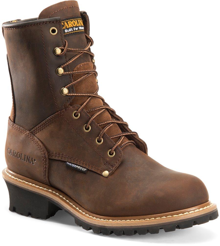 Carolina 8 Inch Plain Steel Toe Logger : Dark Brown - Mens