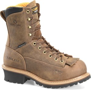 Dark Brown Carolina 8 In Lace-to-Toe Waterproof Logger