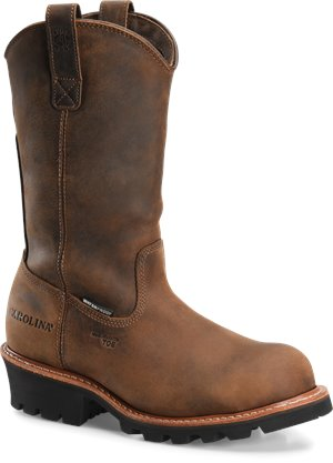Dark Brown  Carolina 12 In WP Composite Toe Ranch Wellington Logger