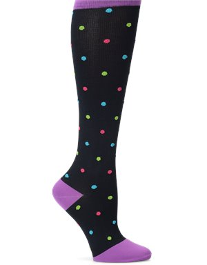 Black Bright Multi Dot Nurse Mates Compression Socks Wide Calf