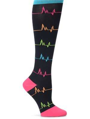 Black Multi EKG Nurse Mates Compression Socks Wide Calf