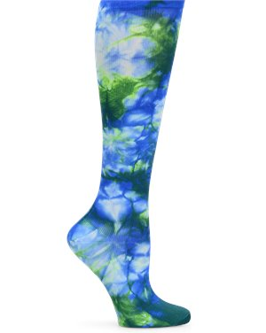 Royal Blue Tie Dye Nurse Mates Compression Socks Wide Calf