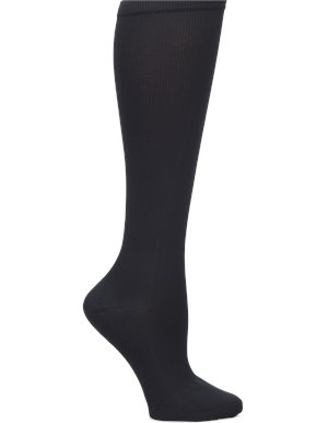 Solid Black Nurse Mates Compression Sock Wide Calf