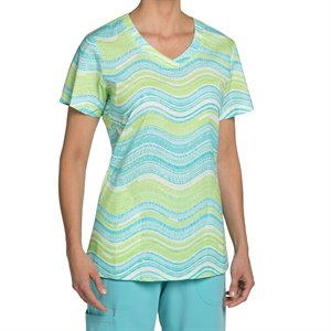 Multi Green Nurse Mates Haven Print Top