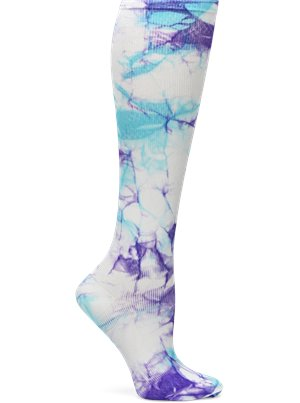 Turquoise and Purple Tie Dye Nurse Mates Compression Socks