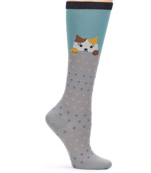 Peeking Cat Nurse Mates Compression Socks