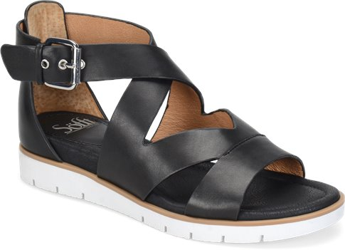 Black Leather Sofft Mirabelle