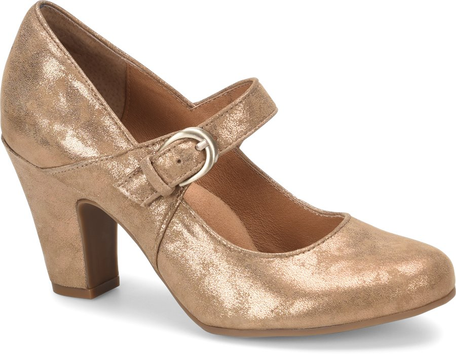 History of Roaring 20s Shoes Sofft Womens Shoes - Miranda in Rich Gold Suede $99.95 AT vintagedancer.com