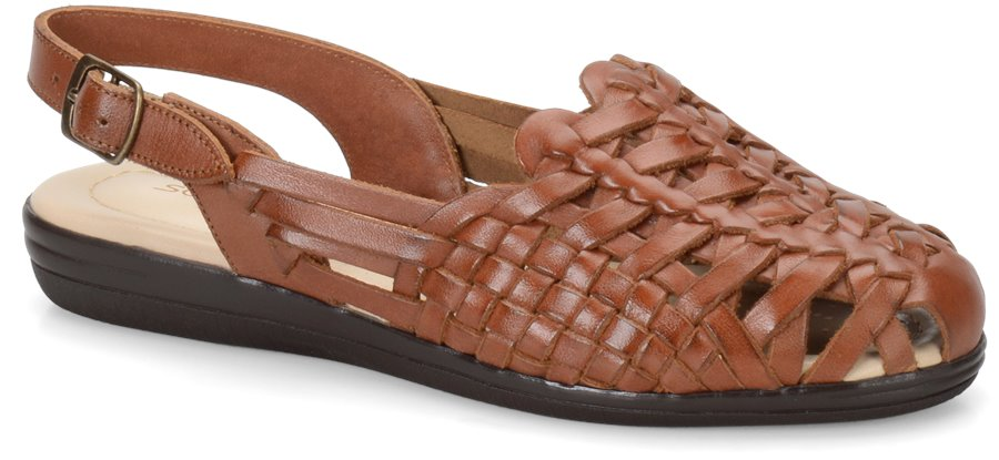 Vintage Sandal History: Retro 1920s to 1970s Sandals Softspots Womens Shoes - Tobago in Rust Tan $73.95 AT vintagedancer.com