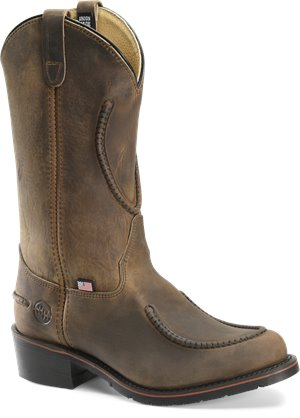 Tan Crazyhorse Double H Boot 12 Inch Work Western