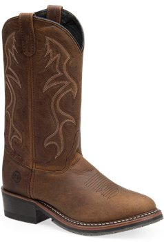Medium Brown Double H Boot 12 Inch Black ICE Western