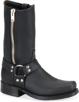 Black Double H Boot 11 Inch Harness Boot with Side Zipper