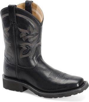 Caramel Black Double H Boot 10 Inch Super Lite Wide Square Toe Roper