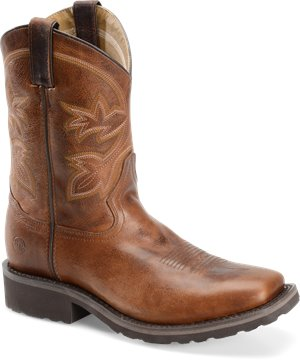 Caramel Mocha Double H Boot 10 Inch Super Lite Wide Square Toe Roper