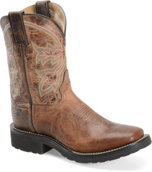 Brown Double H Boot 9 Inch Super Lite Wide Square Toe Roper