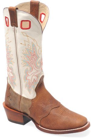 Ivory/Oldtown Double H Boot 14 Inch Leather Bottom Wide Square