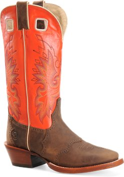 Crazyhorse/Orange Double H Boot 14 Inch Leather Bottom Wide Square