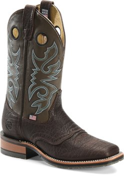 Chocolate Cool Grey Double H Boot 11 Inch Square Toe Roper