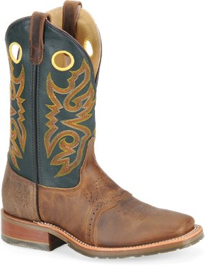 Tan Forest Green Double H Boot 11 Inch Square Toe Roper