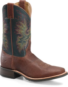 Brown Teal Double H Boot 11 Wide Square Toe Roper