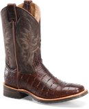 Double H Boot 11 Wide Square Roper in Chocolate Gator Print