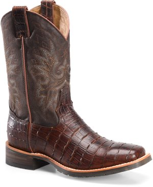 Chocolate Gator Print  Double H Boot 11 Wide Square Roper