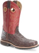 Double H Boot 11 Inch Wide Square Steel Toe Roper in Brown Cherry