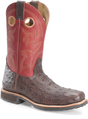 Brown Cherry Double H Boot 11 Inch Wide Square Steel Toe Roper