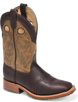 "Olive Double H Boot 11"" Domestic Square Toe Collared Roper"