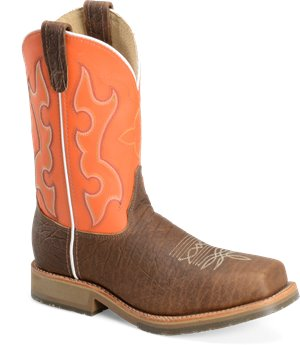 "Brown Orange Double H Boot 11"" Domestic Wide Square ICE™"